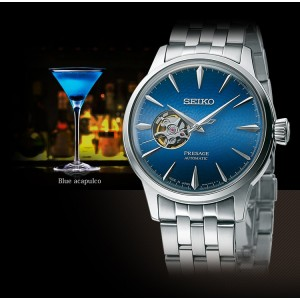 Seiko SSA439J1 Presage Cocktail Time Open Heart Acapulco Blue Made in Japan Automatic Stainless Steel Men's Watch SARY199
