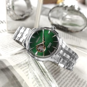 Seiko SSA441J1 Presage Cocktail Time Open Heart Grass hopper Made in Japan Automatic Green Dial Stainless Steel Men's Watch SARY201
