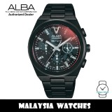 Alba AT3H61X Tokyo Neon Quartz Black Patterned Dial Black-Tone Stainless Steel Men's Watch AT3H61 AT3H61X1 (from SEIKO Watch Corporation)