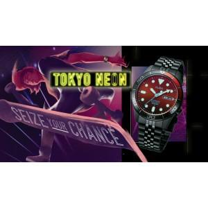 Alba AL4209X Tokyo Neon Automatic Black / Orange Dial Black-Tone Stainless Steel Men's Watch AL4209 AL4209X1 (from SEIKO Watch Corporation)