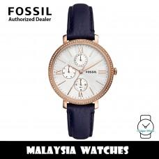 (OFFICIAL WARRANTY) Fossil ES5096 Jacqueline Multifunction Blue Leather Women's Watch (2 Years Fossil Warranty)