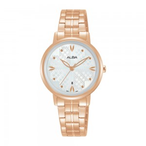 Alba AH7Y94X Fashion Quartz Silver White Patterned Dial Rose Gold-Tone Stainless Steel Women's Watch AH7Y94 AH7Y94X1 (from SEIKO Watch Corporation)