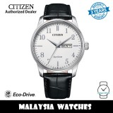 (100% Original) Citizen BM8550-14A Eco Drive White Dial Stainless Steel Case Black Leather Strap Men's Watch (3 Years Warranty)