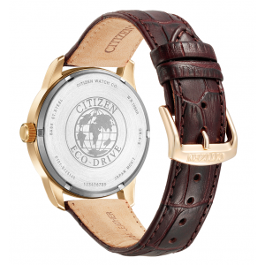 (100% Original) Citizen BM8553-16A Clasic Eco-Drive White Dial Rose Gold-Tone Case Brown Leather Strap Men's Watch (3 Years Warranty)