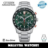 (100% Original) Citizen CA4486-82X Eco-Drive Chronograph Green Dial Stainless Steel Men's Watch (3 Years Warranty)