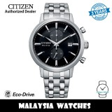 (100% Original) Citizen CA7060-88E Eco-Drive Chronograph Black Dial Stainless Steel Men's Watch (3 Years Warranty)