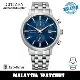 (100% Original) Citizen CA7060-88L Eco-Drive Chronograph Blue Dial Stainless Steel Men's Watch (3 Years Warranty)
