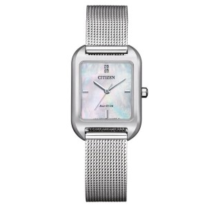 (100% Original) Citizen EM0491-81D Eco-Drive Mother Of Pearl Dial Silver-Tone Stainless Steel Mesh Watch (3 Years Warranty)