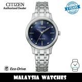 (100% Original) Citizen EM0890-85L Eco-Drive Dark Blue Dial Silver-Tone Stainless Steel Women's Watch (3 Years Warranty)