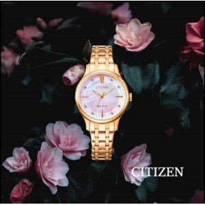 (100% Original) Citizen EM0893-87Y Eco-Drive Mother Of Pearl Pink Dial Rose Gold-Tone Stainless Steel Women's Watch (3 Years Warranty)