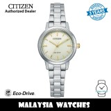 (100% Original) Citizen EM0930-58P Eco-Drive Beige Dial Silver-Tone Stainless Steel Women's Watch (3 Years Warranty)