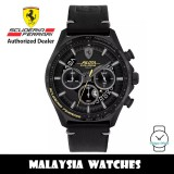 (100% Original) Scuderia Ferrari 0830823 Pilota Evo Chronograph Black Dial Black Leather Strap Men's Watch 830823 (2 Years Scuderia Ferrari Warranty)