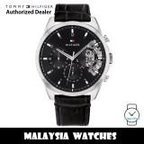 (100% Original) Tommy Hilfiger 1710449 Baker Multidial Stainless Steel Case Black Leather Strap Men's Watch (2 Years International Warranty)