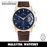 (100% Original) Tommy Hilfiger 1710453 Parker MultiDial Blue Dial Stainless Steel Case Brown Leather Strap Men's Watch (2 Years International Warranty)