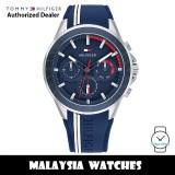 (100% Original) Tommy Hilfiger 1791859 Aiden MultiDial Blue Dial Stainless Steel Case Blue Rubber Strap Men's Watch (2 Years International Warranty)