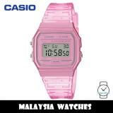 (100% Original) Casio F-91WS-4 Youth Digital Pink Transparent Resin Watch F91 F-91 F91WS F91WS-4 F-91WS-4DF