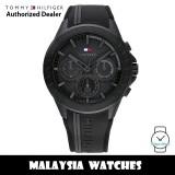 (100% Original) Tommy Hilfiger 1791861 Aiden MultiDial Black Dial Stainless Steel Case Black Rubber Strap Men's Watch (2 Years International Warranty)