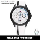 (100% Original) Tommy Hilfiger 1791862 Alden MultiDial White Dial Black Stainless Steel Case White Rubber Strap Men's Watch (2 Years International Warranty)