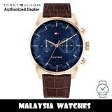 (100% Original) Tommy Hilfiger 1710423 Sawyer Multi Dial Blue Dial Stainless Steel Case Brown Leather Strap Men's Watch (2 Years International Warranty)