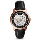 Fossil ME3084 Townsman Three-Hand Automatic Black Leather Watch (Black & Rose Gold)
