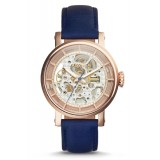 Fossil ME3086 Original Boyfriend Automatic Navy Leather Watch (Blue & Rose Gold)