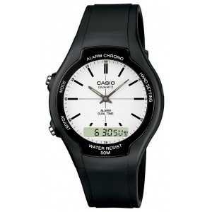(100% Original) Casio AW-90H-7E Classic Analog Digital White Dial Black Resin Watch AW90H AW-90H AW90H-7E AW-90H-7EV AW-90H-7EVDF