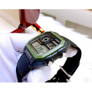(100% Original) Casio AE-1200WHB-1B Youth Digital 10-YEAR BATTERY LIFE Green Resin Case Black Nylon Strap Watch AE1200 AE-1200 AE1200WHB AE1200WHB-1B AE-1200WHB-1BV