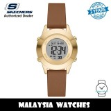 (OFFICIAL WARRANTY) Skechers SR6223 Rosencrans Quartz Digital Gold-Tone Case Brown Leather Strap Women's Watch (2 Years Warranty)