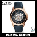 (OFFICIAL WARRANTY) Fossil Men's ME3102 Grant Automatic Navy Blue Leather Watch (2 Years International Warranty)