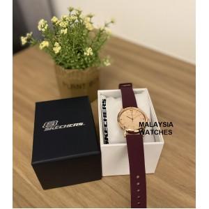 (OFFICIAL WARRANTY) Skechers SR6226 Bellflower Quartz Analog Rose Gold-Tone Dial Purple Silicone Strap Women's Watch (2 Years Warranty)