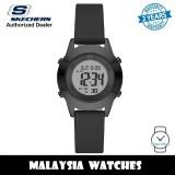 (OFFICIAL WARRANTY) Skechers SR6232 Quartz Digital Stainless Steel Case Black Leather Strap Watch (2 Years Warranty)