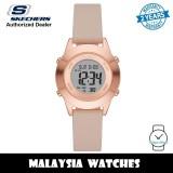 (OFFICIAL WARRANTY) Skechers SR6233 Quartz Digital Rose Gold Case Nude Leather Strap Watch (2 Years Warranty)