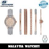 (OFFICIAL WARRANTY) Skechers SR9064 Women's Quartz Rose Gold-Tone Dial Grey Silicone Watch + Bracelets Gift Set (2 Years Warranty)