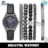 (OFFICIAL WARRANTY) Skechers SR9063 Quartz Black Mother of Pearl Dial Black Leather Watch + Bracelets Gift Set (2 Years Warranty)