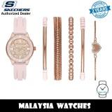 (OFFICIAL WARRANTY) Skechers SR9061 Quartz Rose Gold-Tone Dial Pink Silicone Strap Watch + Bracelets Gift Set (2 Years Warranty)