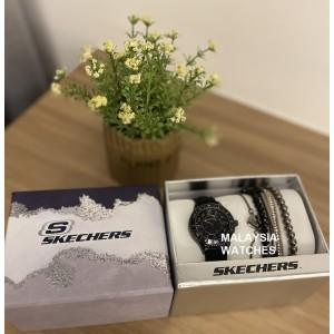 (OFFICIAL WARRANTY) Skechers SR9060 Quartz Black Dial Black Silicone Strap Watch + Bracelets Gift Set (2 Years Warranty)
