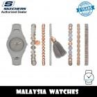 (OFFICIAL WARRANTY) Skechers SR9059 Quartz Grey Dial Grey Silicone Strap Watch + Bracelets Gift Set (2 Years Warranty)
