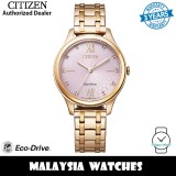 (100% Original) Citizen EM0503-75X Eco Drive Pink Dial Rose Gold-Tone Stainless Steel Women's Watch (3 Years Warranty)