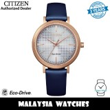 (100% Original) Citizen EM0763-07A Eco Drive Silver Dial Rose Gold Stainless Steel Case Blue Leather Strap Women's Watch (3 Years Warranty)