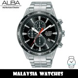 Alba AM3831X Active Chronograph Black Dial Silver-Tone Stainless Steel Men's Watch AM3831 AM3831X1 (from SEIKO Watch Corporation)