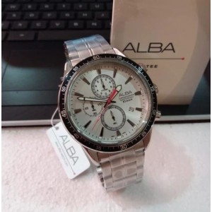 Alba AM3833X Active Chronograph Silver Dial Silver-Tone Stainless Steel Men's Watch AM3833 AM3833X1 (from SEIKO Watch Corporation)