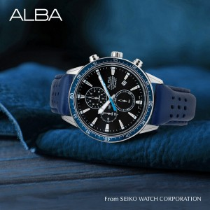 Alba AM3835X Active Chronograph Black Dial Silver-Tone Stainless Steel Case Blue Leather Strap Men's Watch AM3835 AM3835X1 (from SEIKO Watch Corporation)