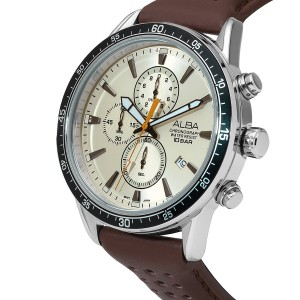Alba AM3837X Active Chronograph Beige Dial Silver-Tone Stainless Steel Case Brown Leather Strap Men's Watch AM3837 AM3837X1 (from SEIKO Watch Corporation)
