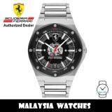 (100% Original) Scuderia Ferrari 0830846 Aspire Black Dial Stainless Steel Men's Watch 830846 (2 Years Scuderia Ferrari Warranty)
