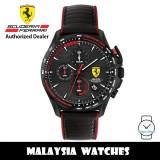 (100% Original) Scuderia Ferrari 0830849 Pilota Chronograph Black Dial Stainless Steel Case Black Leather Strap 830849 (2 Years Scuderia Ferrari Warranty)