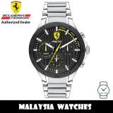 (100% Original) Scuderia Ferrari 0830854 Pista Quartz Analog Black Dial Stainless Steel Watch 830854 (2 Years Scuderia Ferrari Warranty)
