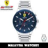(100% Original) Scuderia Ferrari 0830855 Pista Quartz Analog Blue Dial Stainless Steel Watch 830855 (2 Years Scuderia Ferrari Warranty)