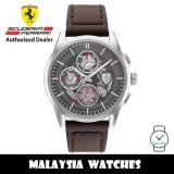 (100% Original) Scuderia Ferrari 0830830 Grand Tour Quartz Stainless Steel Case Brown Leather Strap Men's Watch 830830 (2 Years Scuderia Ferrari Warranty)