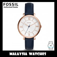 (OFFICIAL WARRANTY) Fossil Women's ES3843 Jacqueline Rose Gold Case Navy Blue Leather Watch (100% Original)