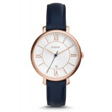 Fossil Women's ES3843 Jacqueline Rose Gold Case Navy Blue Leather Watch (100% Original)